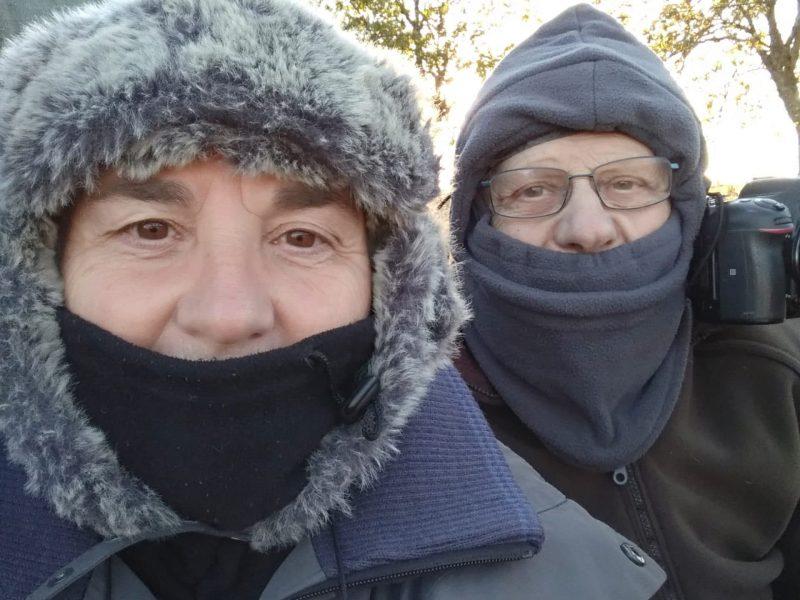Isabelle Cros et Jacques borrel affût hivernal